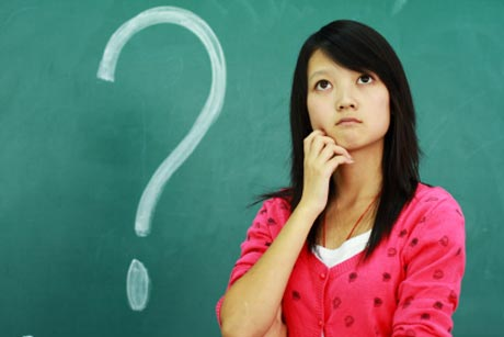 Woman and question mark image